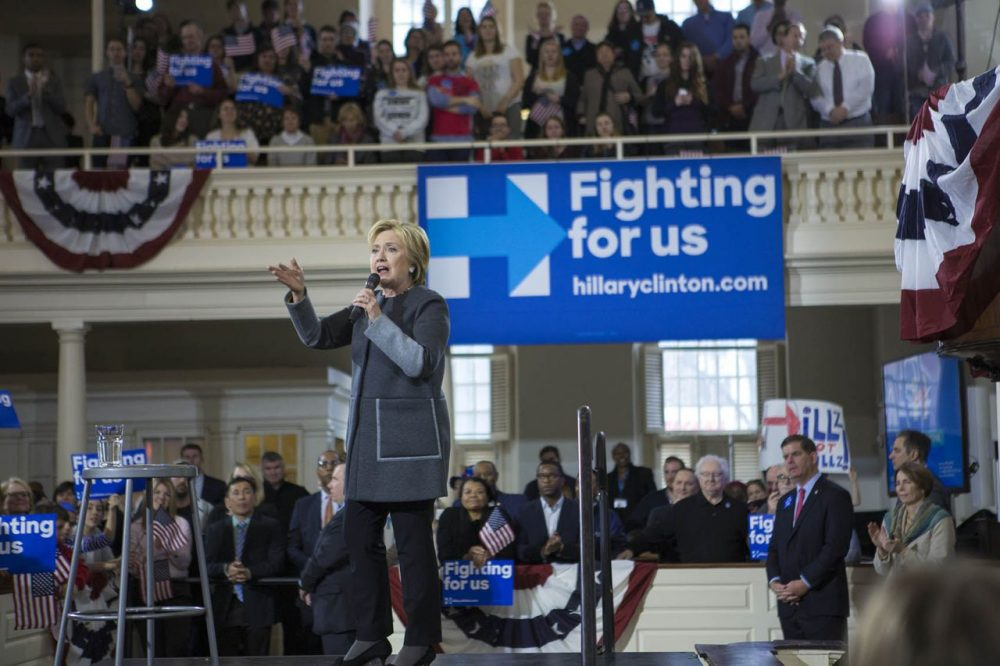 Hillary Clinton campaigns at the Old South Meeting House in Boston on Feb. 29. Boston Mayor Marty Walsh is at right. Clinton won the Massachusetts Democratic primary. (Jesse Costa/WBUR)