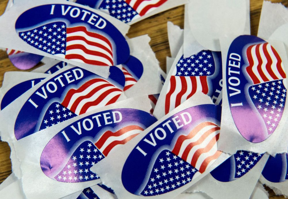 """A stack of """"I voted"""" stickers are seen March 1, 2016, at one of the Virginia primary election polling stations at Colin Powell Elementary School, in Centreville, Virginia. Voters in a dozen states will take part in """"Super Tuesday"""" -- a series of primaries and caucuses in states ranging from Alaska to Virginia, with Virginia the first to open its polling stations at 6:00 am (Paul J. Richards/AFP/Getty Images)"""