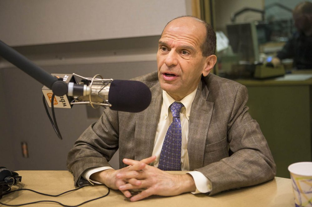 "Attorney Mitchell Garabedian, pictured on Mar. 2, 2016, in the Here & Now studios, says the film ""Spotlight"" has encouraged many more clergy abuse victims to come forward. (Jesse Costa/WBUR)"
