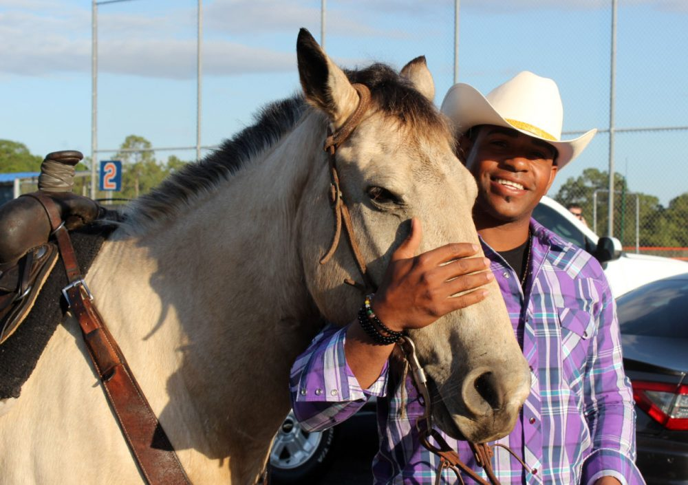 New York Mets' Yoenis Cespedes and teammate Noah Syndergaard arrived to spring training on horseback simply because they could. (Will Carafello/New York Mets via AP)