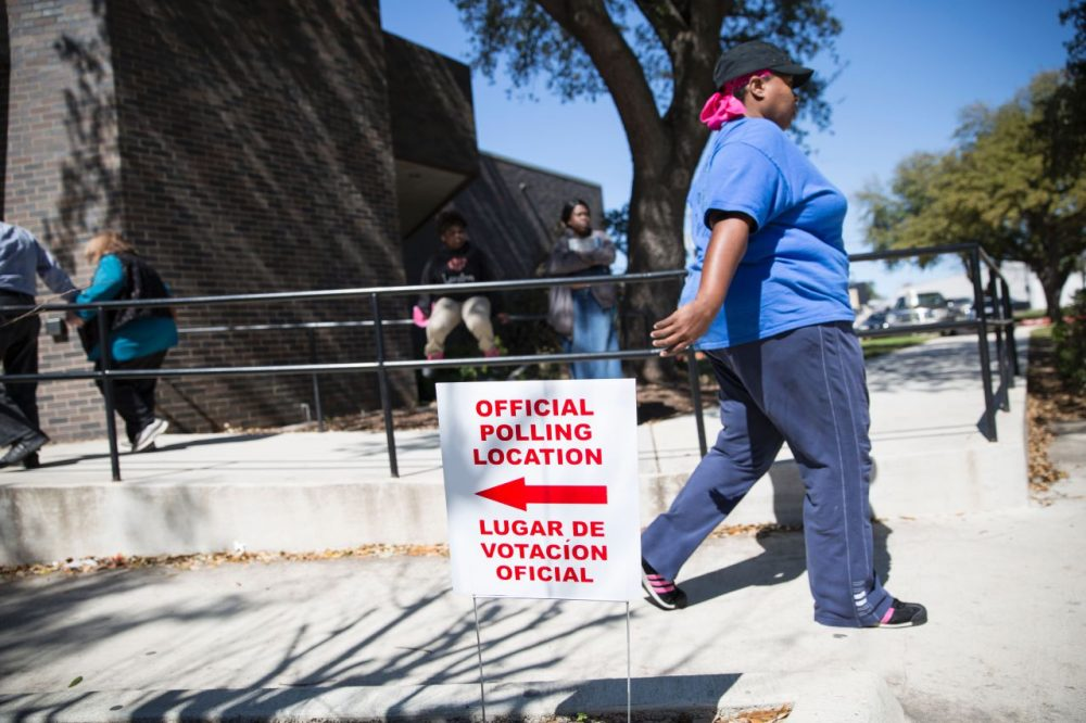 An official polling location sign stands outside a voting center on Super Tuesday, March 1, 2016, in Dallas, Texas. Americans began voting in the crucial Super Tuesday primaries and caucuses in what is deemed the most critical day in the presidential nominating process. (Laura Buckman/AFP/Getty Images)