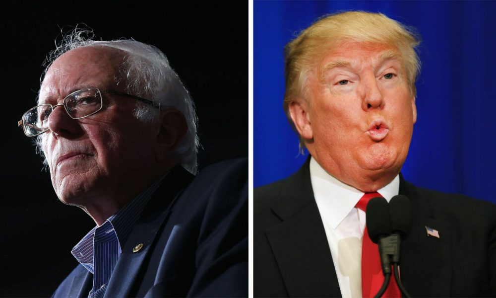 Democratic presidential candidate Sen. Bernie Sanders (D-VT) and Republican presidential candidate Donald Trump. (Spencer Platt & Tom Pennington/Getty Images)