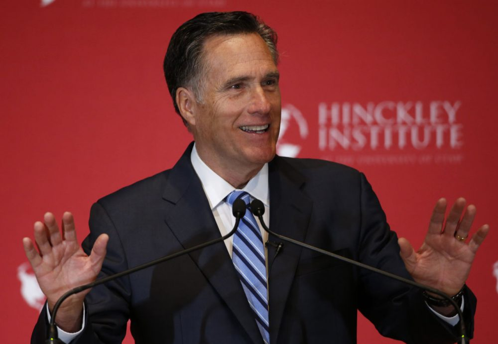 Former Massachusetts Gov. Mitt Romney gives a speech on the state of the Republican party at the Hinckley Institute of Politics on the campus of the University of Utah on March 3, 2016 in Salt Lake City, Utah. Romney spoke about Donald Trump calling him a fraud and arguing against his nomination. (George Frey/Getty Images)