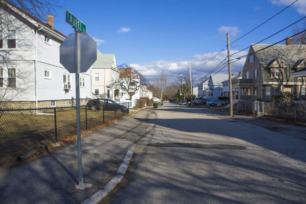 Laurel Street in Watertown, the scene of the armed standoff between the Tsarnaev brothers and the Watertown Police. (Jesse Costa/WBUR)