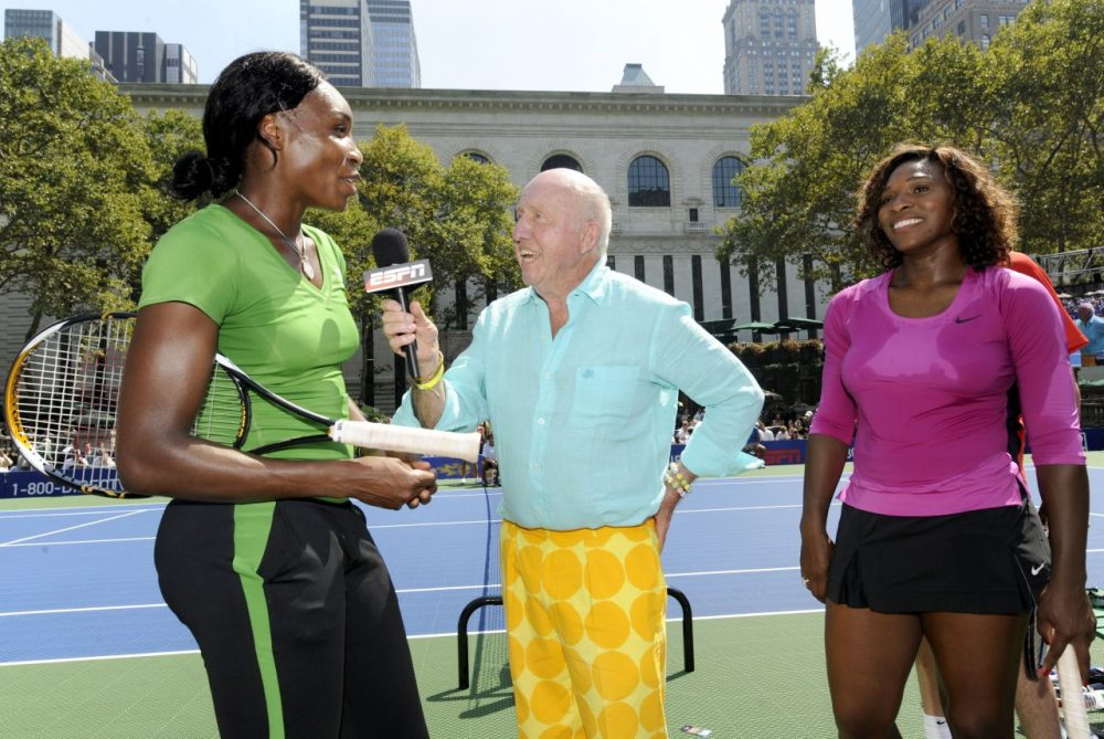 Venus Williams and sister Serena Williams are interviewed by Bud Collins at the DirecTV ESPN U.S. Open Experience, August 26, 2009 at Bryant Park in New York City. (Rob Tringali/Getty Images for DirecTV)