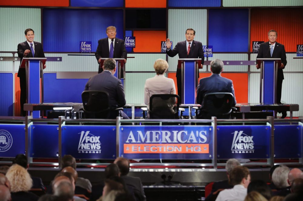Republican presidential candidates (from left) Sen. Marco Rubio (R-FL), Donald Trump, Sen. Ted Cruz (R-TX), and Ohio Gov. John Kasich participate in a debate sponsored by Fox News at the Fox Theatre on March 3, 2016 in Detroit, Michigan. Voters in Michigan will go to the polls March 8 for the state's primary. (Chip Somodevilla/Getty Images)