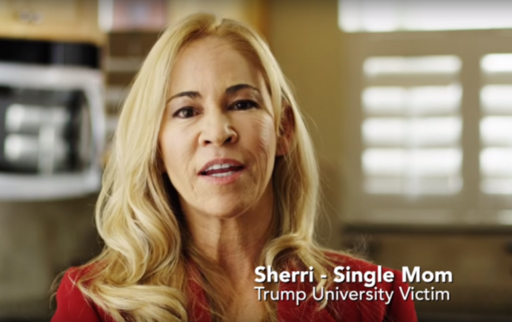 "In this screenshot from an anti-Trump ad from  American Future Fund, a woman named Sherri says ""America, do not make the same mistake that I did with Donald Trump. I got hurt badly, and I'd hate to see this country get hurt by Donald Trump."" (Screenshot)"