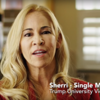 """In this screenshot from an anti-Trump ad from  American Future Fund, a woman named Sherri says """"America, do not make the same mistake that I did with Donald Trump. I got hurt badly, and I'd hate to see this country get hurt by Donald Trump."""" (Screenshot)"""