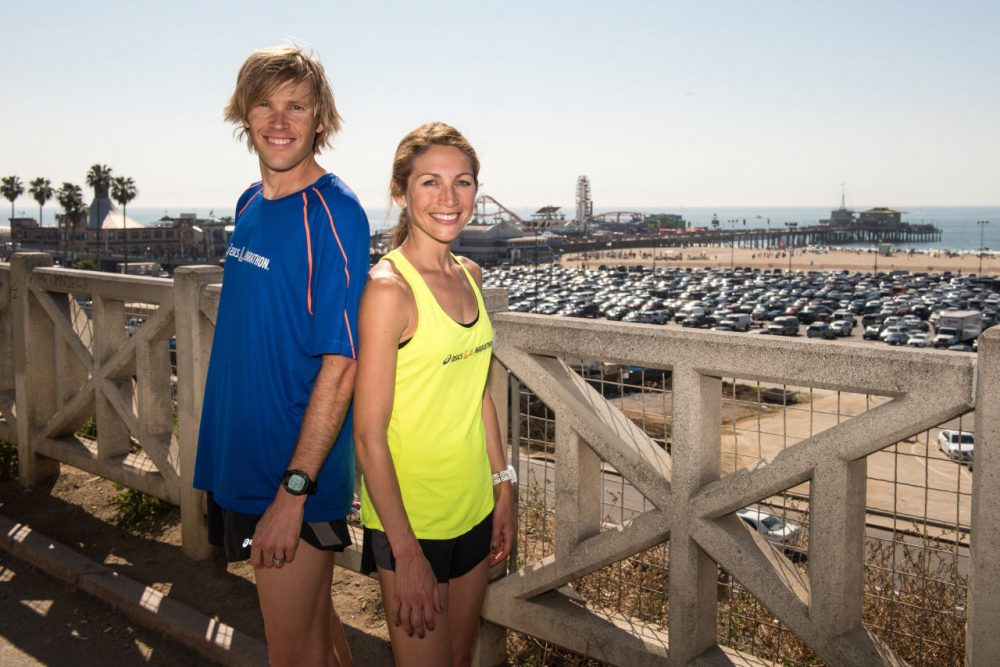 Ryan and Sara Hall. (Jonathan Moore/Getty Images for ASICS)