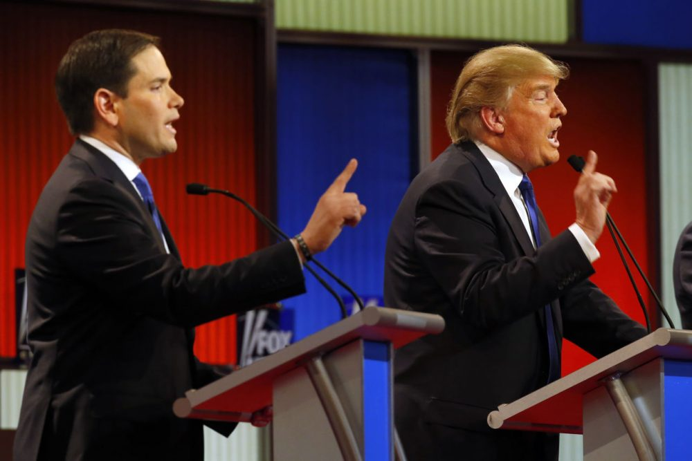 Republican presidential candidates, Sen. Marco Rubio, R-Fla., and businessman Donald Trump argue during a Republican presidential primary debate at Fox Theatre, Thursday, in Detroit. (Paul Sancya/AP)