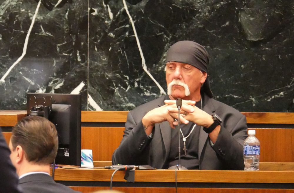 Terry Bollea, known as professional wrestler Hulk Hogan, listens while testifying in his case against the news website Gawker at the Pinellas County Courthouse, in St. Petersburg, Fla., Monday, March 7, 2016. Hogan is suing Gawker for $100 million for publishing a video of him having sex with his best friend's wife. (Boyzell Hosey/Tampa Bay Times via AP)