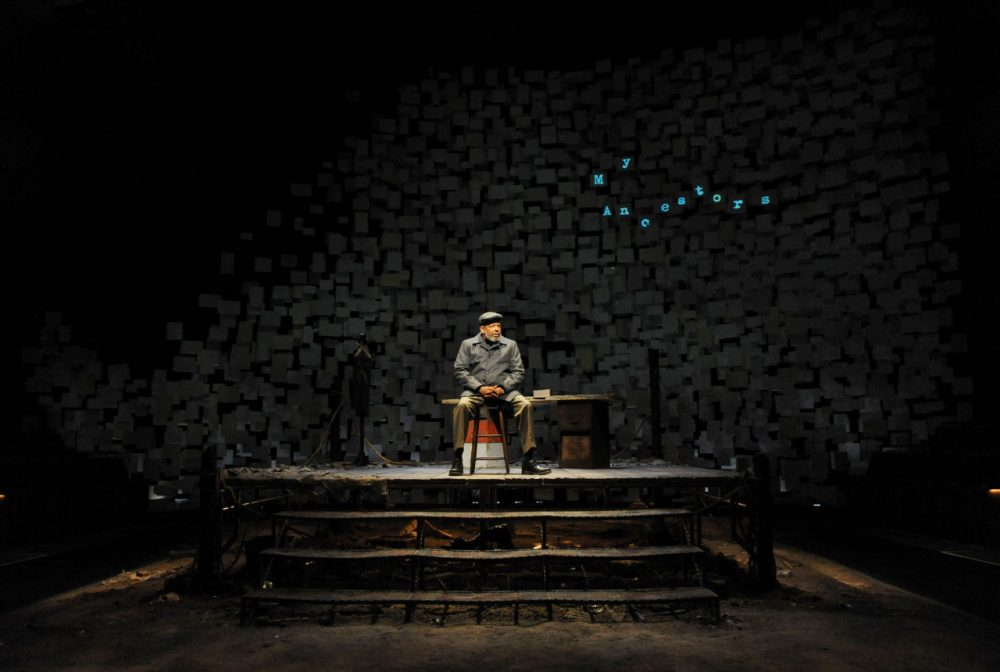 """Eugene Lee plays August Wilson in """"How I Learned What I Learned."""" The remains of a boxing ring make up much of the stage design. (Courtesy Huntington Theatre Company)"""