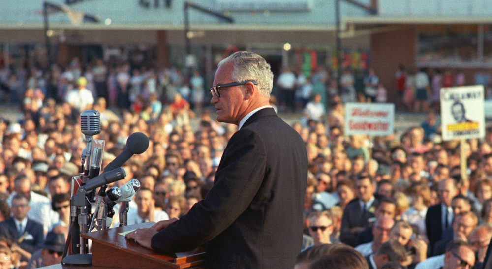 If the Republican establishment couldn't stop Barry Goldwater in 1964, it's unclear how they are going to stop Donald Trump in 2016. In this Sept. 17, 1964 photo, Goldwater speaks to a crowd in Raleigh, N.C. during his presidential campaign. (AP)