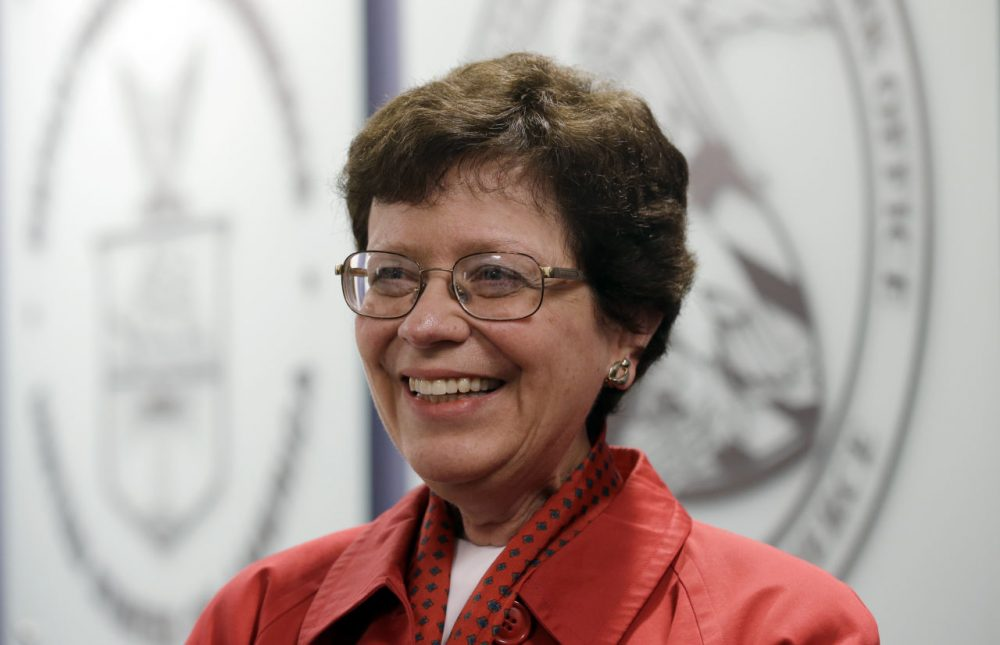 Acting United States Commerce Secretary Rebecca Blank smiles at a news conference for the opening of the U.S. Patent and Trademark Office's first satellite location in Detroit, Friday, July 13, 2012. The U.S. Patent and Trademark Office's first satellite location outside of Washington, D.C., is expected to help entrepreneurs in Michigan get patent approvals more quickly. (AP Photo/Paul Sancya)