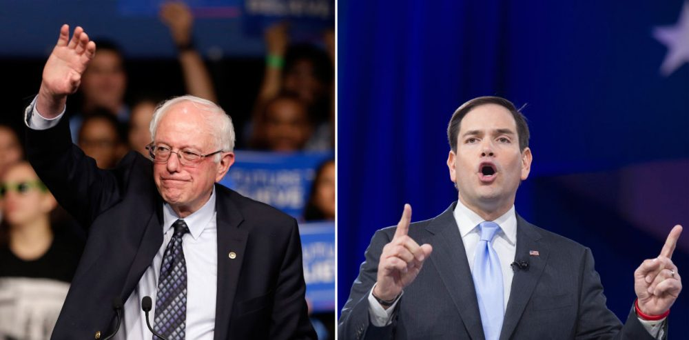At left, Democratic presidential candidate, Sen. Bernie Sanders, I-Vt., waves to his supporters at a campaign rally Tuesday, March 8, 2016, in Miami. (Alan Diaz/AP) At right, Republican presidential candidate, Sen. Marco Rubio, R-Fla. addresses the American Conservative Union's Conservative Political Action Conference (CPAC) in National Harbor, Md., Saturday, March 5, 2016. (Cliff Owen/AP)