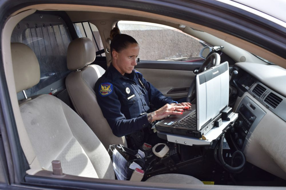 The Phoenix Police Department is training patrol officers like Jen Moore to become Intelligence Officers. (Jimmy Jenkins/KJZZ)