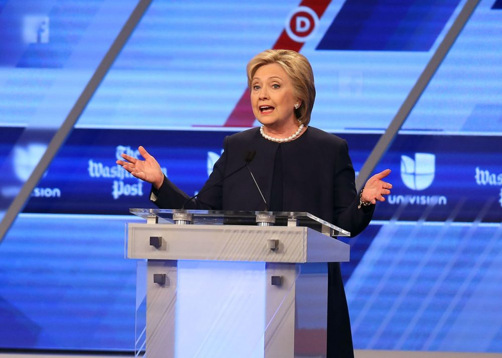 Democratic presidential candidate Hillary Clinton speaks during her debate against Democratic presidential candidate Senator Bernie Sanders (D-VT) at the Univision News and Washington Post Democratic Presidential Primary Debate at the Miami Dade College's Kendall Campus on March 9, 2016 in Miami, Florida. (Joe Raedle/Getty Images)