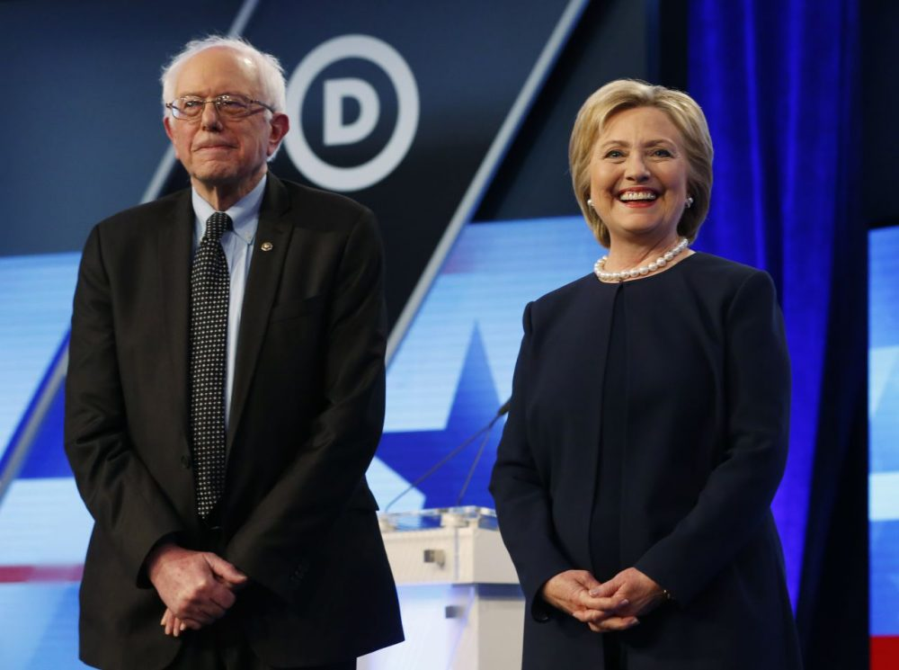 Democratic presidential candidates, Hillary Clinton and Sen. Bernie Sanders, I-Vt,  stand together before the start of the Univision, Washington Post Democratic presidential debate at Miami-Dade College,  Wednesday, March 9, 2016, in Miami, Fla. (Wilfredo Lee/AP)