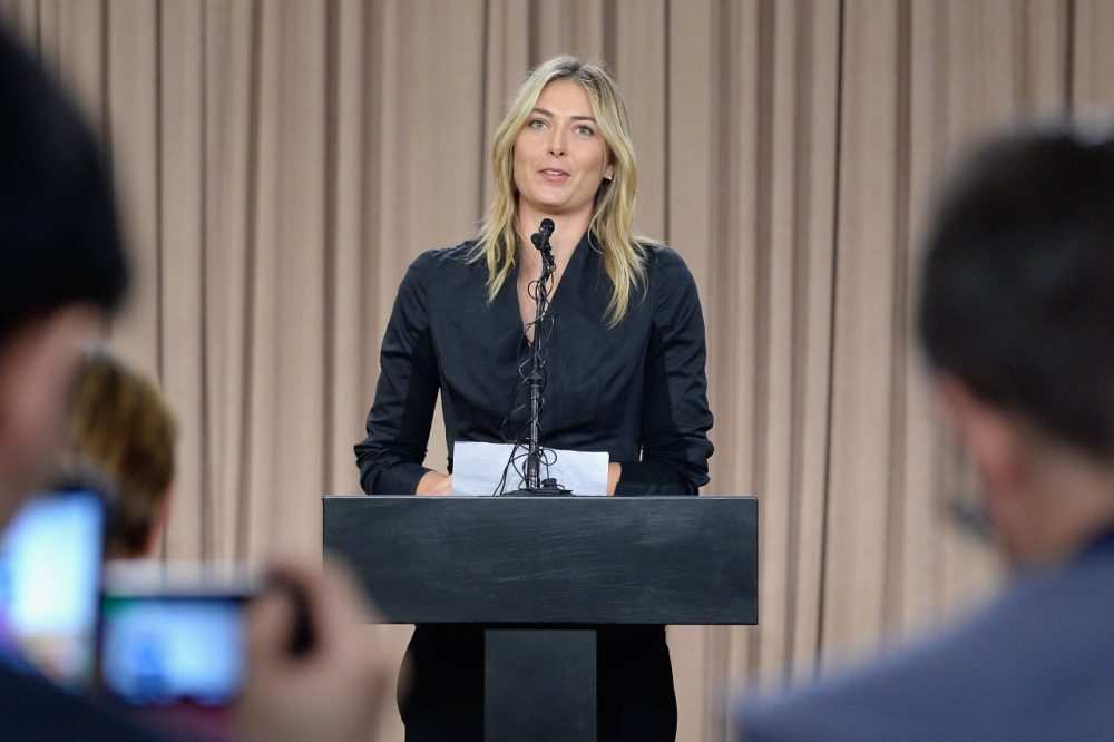 Tennis player Maria Sharapova addresses the media regarding a failed drug test at The LA Hotel Downtown on March 7, 2016 in Los Angeles, California. (Kevork Djansezian/Getty Images)
