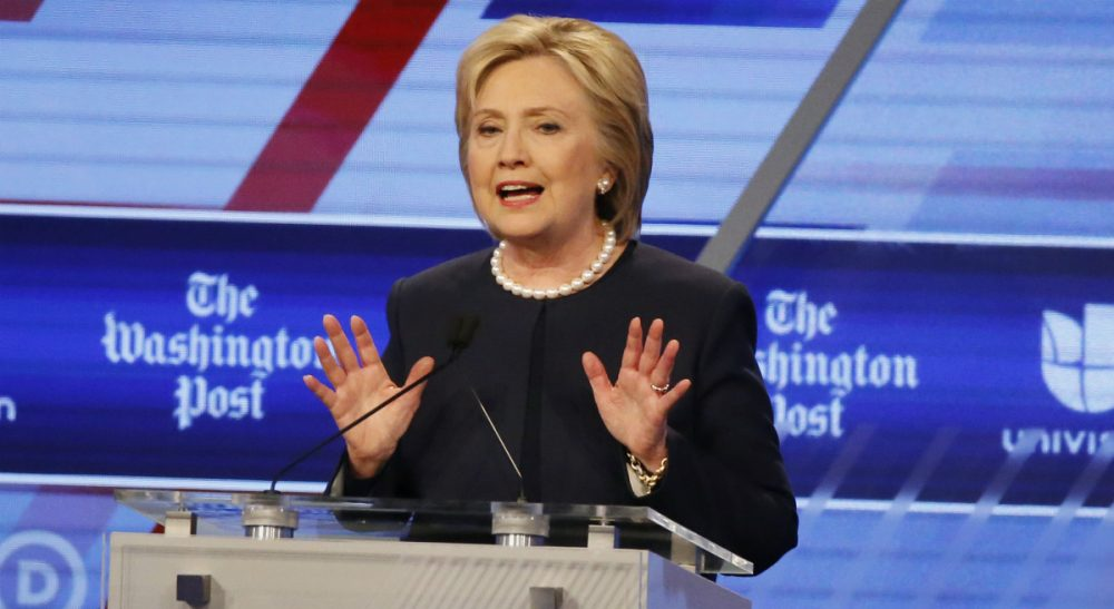 """""""I am not a natural politician, in case you haven't noticed, like my husband or President Obama,"""" Hillary Clinton said at the Univision, Washington Post Democratic presidential debate at Miami-Dade College, Weds., March 9, 2016, in Miami, Fla. (Wilfredo Lee/AP)"""
