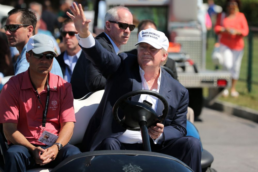 Republican presidential candidate Donald Trump makes an appearance prior to the start of play during the final round of the World Golf Championships-Cadillac Championship at Trump National Doral Blue Monster Course on March 6, 2016 in Doral, Florida.  (Mike Ehrmann/Getty Images)
