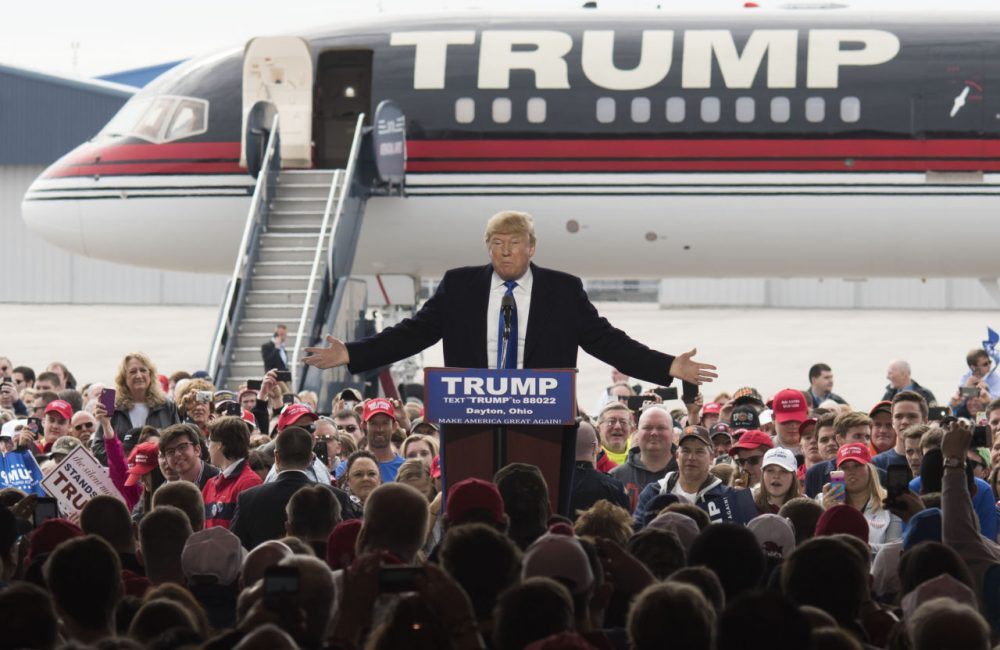 Republican presidential candidate Donald Trump speaks to attendants at a campaign rally on March 12, 2016 in Vandailia, Ohio, the first rally  after violence broke out in a Trump rally in Chicago, which canceled the rally. (Ty Wright/Getty Images)