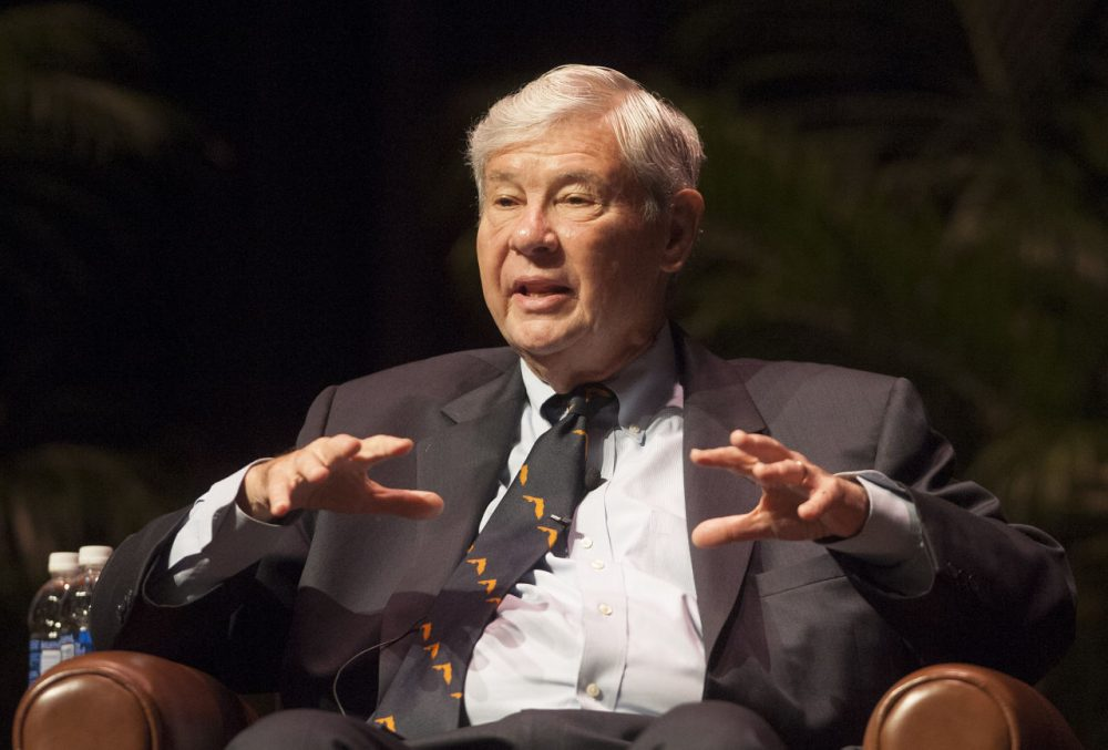 Former Florida Governor Bob Graham speaks to an audience about the critical issues impacting Florida on Friday, Oct. 12, 2012 in Gainesville, Fla.. Graham and four other ex-governors were part of a lecture series presented by the Florida Law Review. (Phil Sandlin/AP)