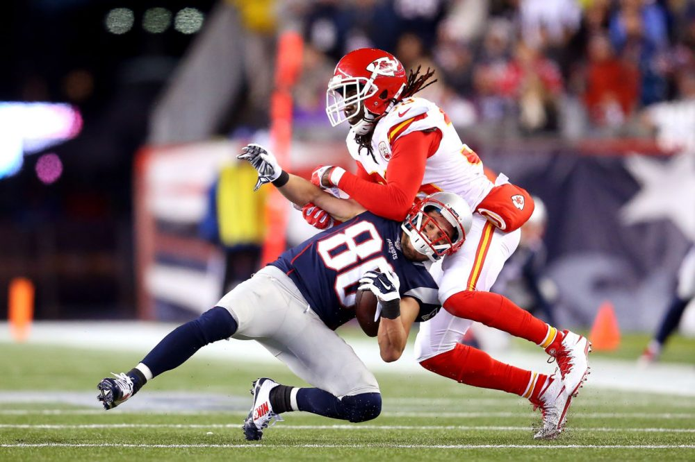 Danny Amendola #80 of the New England Patriots is tackled by Ron Parker #38 of the Kansas City Chiefs in the first half during the AFC Divisional Playoff Game at Gillette Stadium on January 16, 2016 in Foxboro, Massachusetts.  (Jim Rogash/Getty Images)