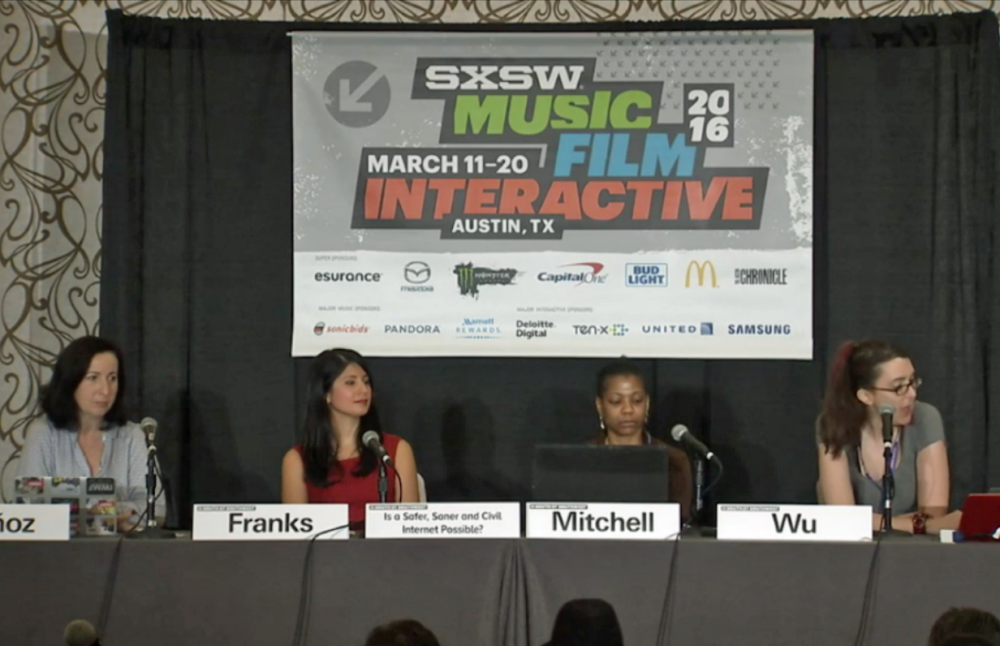 "From left, Elisa Lees Muñoz, Mary Anne Franks, Shireen Mitchell and Brianna Wu take part in a panel called ""Is A Safer, Saner and Civil Internet Possible?"" at SXSW on Saturday, March 12. (Screenshot from sxsw.com)"