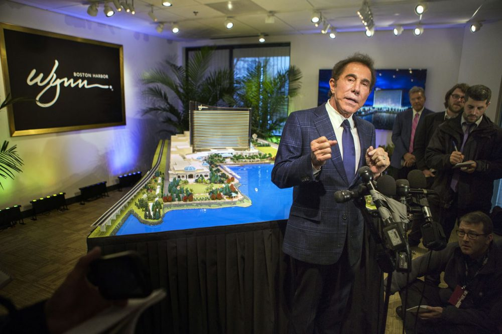 Casino mogul Steve Wynn speaks with the press about his casino project, Wynn Boston Harbor, in Everett. (Jesse Costa/WBUR/file)