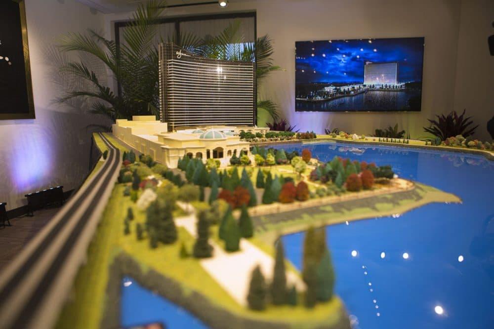 A scaled model of Wynn's planned casino in Everett. (Jesse Costa/WBUR)