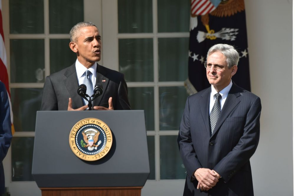 President Barack Obama announces his Supreme Court nominee, Merrick Garland (right), in the Rose Garden at the White House in Washington, D.C., on March 16, 2016. Garland, 63, is currently chief judge of the United States Court of Appeals for the District of Columbia Circuit. The nomination sets the stage for an election-year showdown with Republicans who have made it clear they have no intention of holding hearings to vet any Supreme Court nominee put forward by the president. (Nicholas Kamm/AFP/Getty Images)
