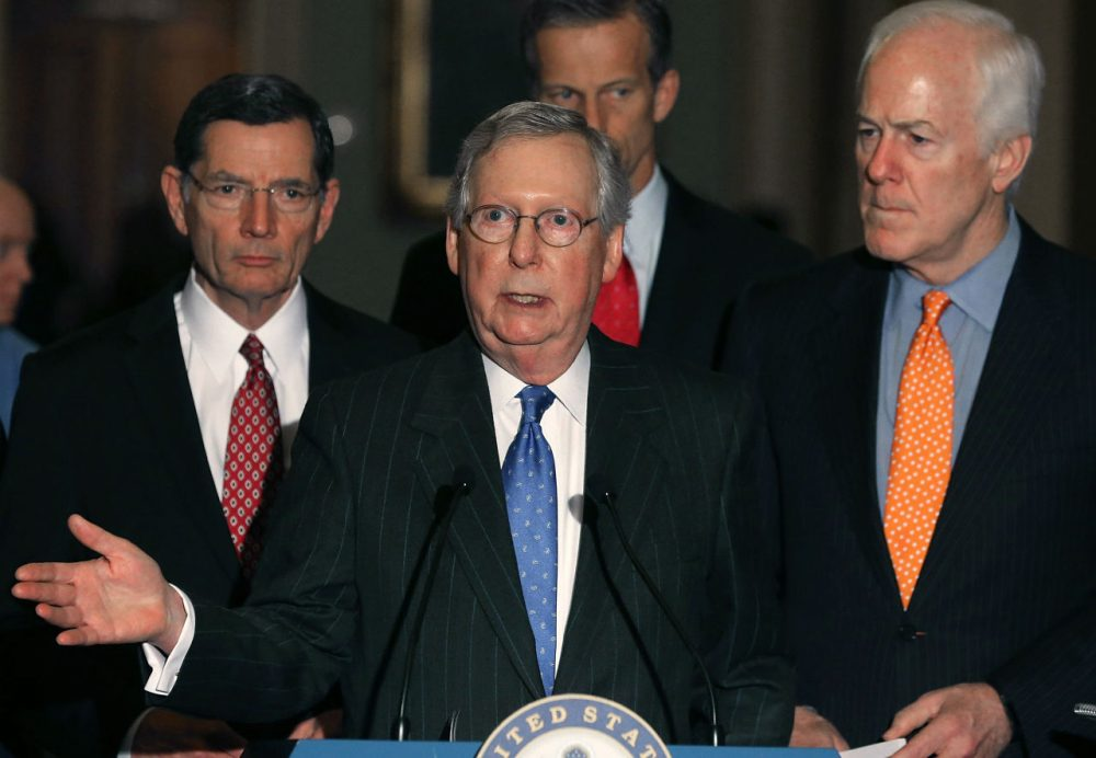 Senate Majority Leader Mitch McConnell (R-KY), center, says Senate Republicans will deny confirmation hearings for any Obama nominee to fill the vacancy after the passing of Justice Antonin Scalia. (Mark Wilson/Getty Images)
