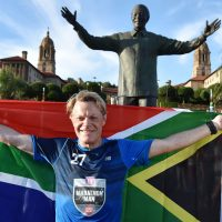 Eddie Izzard is typically known for his comedy and acting...and now he's known for running 27  marathons in 27 days for charity. (AP Photo)