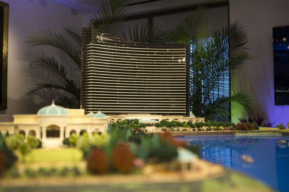 A scaled model of Steve Wynn's planned casino in Everett. (Jesse Costa/WBUR)