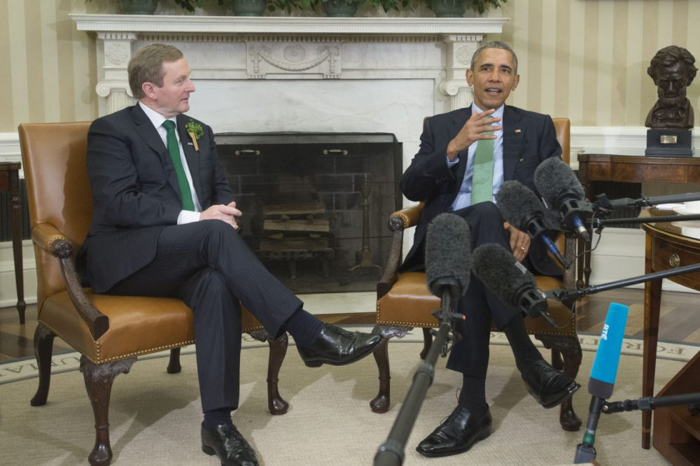 U.S. President Barack Obama (right) and acting Prime Minister (Taoiseach) of Ireland Enda Kenny (left) deliver remarks following their bilateral meeting on March 15, 2016 in the Oval Office of the White House, in Washington, D.C. Obama and Kenny discussed the economy in both countries as well as the ongoing immigration crises (Michael Reynolds/Getty Images)