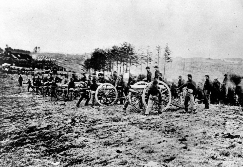 This photo shows a scene from the Battle of Fredericksburg. The battle, which took place on Dec. 13-15, 1862, was a victory for the Confederate troops under Gen. Robert E. Lee. This photograph is the first taken of the American Army in combat. (Mathew B. Brady/AP)