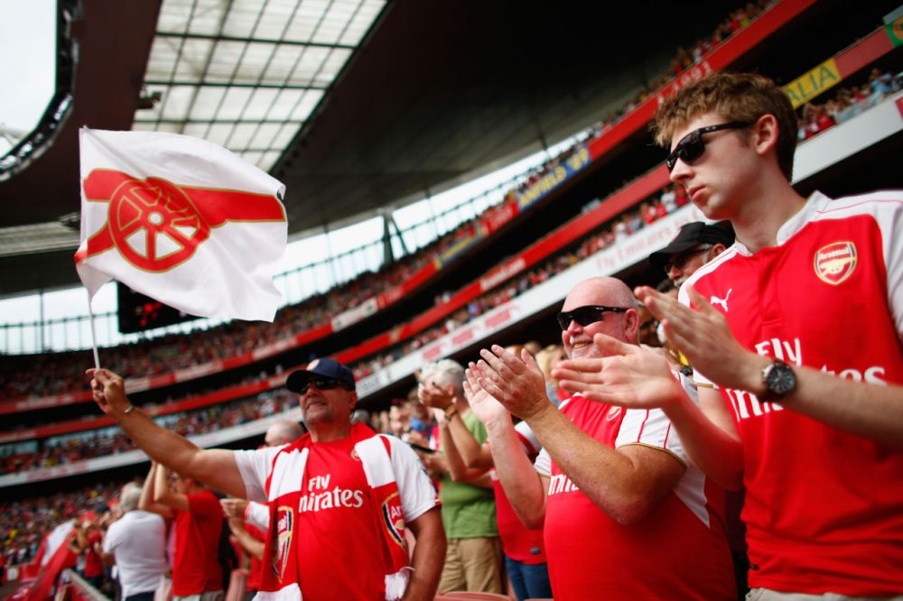 LONDON, ENGLAND - AUGUST 09:  Arsenal fans during the Barclays Premier League match between Arsenal and West Ham United at the Emirates Stadium on August 9, 2015 in London, England.  (Photo by Julian Finney/Getty Images)