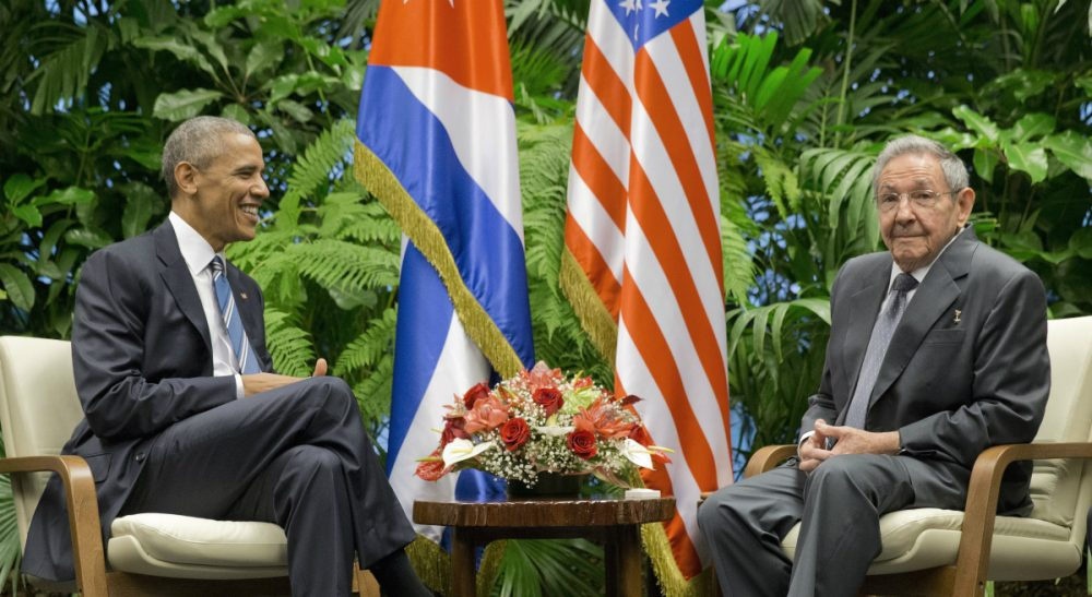 President Obama meets with Cuban President Raul Castro at the Palace of the Revolution, Monday, March 21, 2016 in Havana, Cuba. (Pablo Martinez Monsivais/AP)