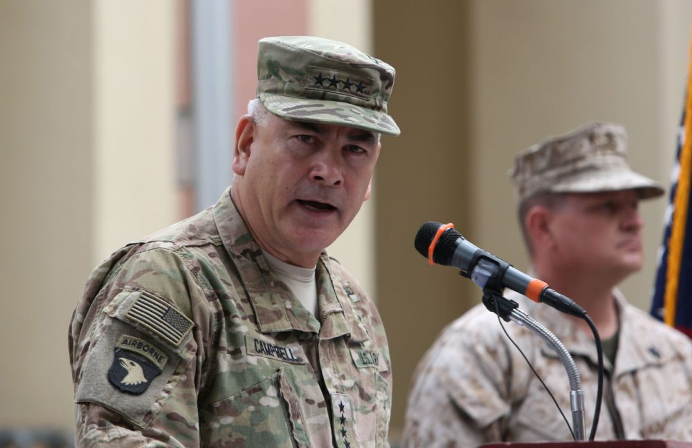 U.S. Army General John Campbell, the outgoing commander of Resolute Support forces and United States forces in Afghanistan, speaks during a change of command ceremony at Resolute Support headquarters in Kabul on March 2, 2016.  Just over one year ago, the US and NATO-led mission in Afghanistan transitioned into an Afghan operation, with allied nations assisting in training and equipping local forces to tackle Taliban and other groups. (Rahmat Gul/AFP/Getty Images)