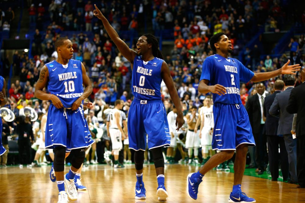 Darnell Harris #0 of the Middle Tennessee Blue Raiders celebrates with teammates late in the game against the Michigan State Spartans during the first round of the 2016 NCAA Men's Basketball Tournament at Scottrade Center on March 18, 2016 in St Louis, Missouri. (Jamie Squire/Getty Images)