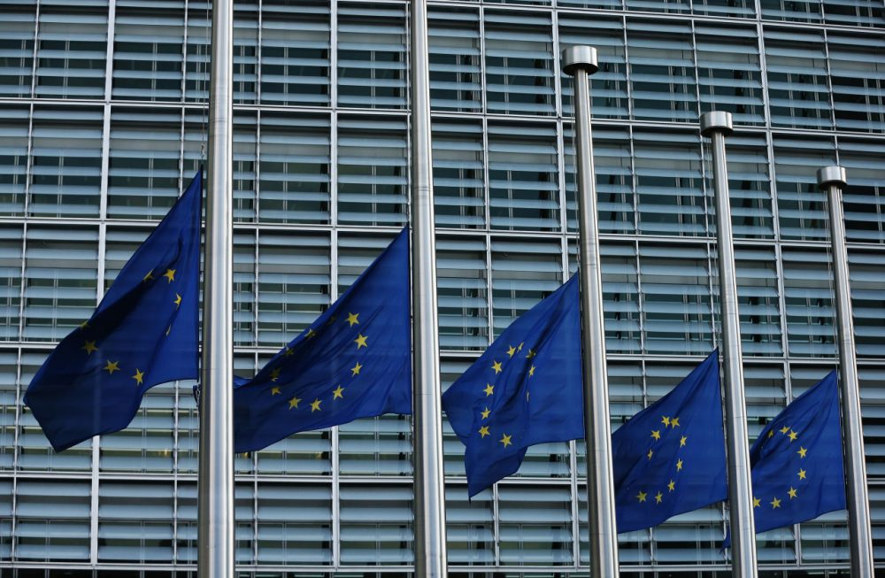 The European Union flag flies at half mast outside EU Commission Headquarters following today's attack on March 22, 2016 in Brussels, Belgium. At least 30 people are thought to have been killed after Brussels airport and a Metro station were targeted by explosions. The attacks come just days after a key suspect in the Paris attacks, Salah Abdeslam, was captured in Brussels.  (Carl Court/Getty Images)