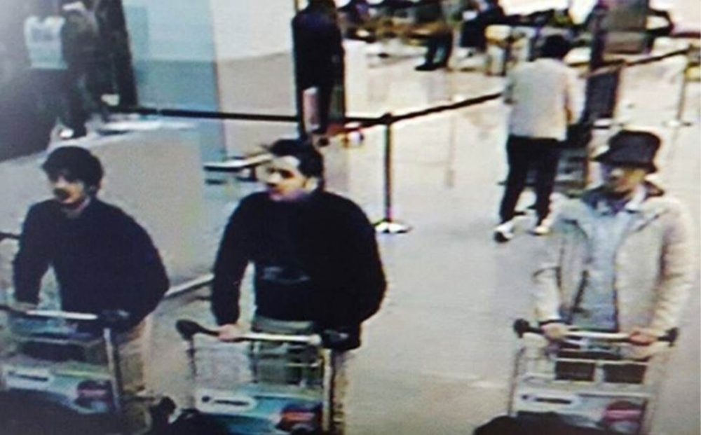 Belgian authorities have released this still image from surveillance video of three men suspected of taking part in the attacks at Belgium's Zaventem Airport. (Belgian Federal Police)
