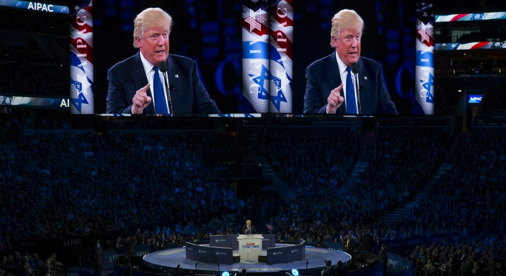 "Julie Wittes Schlack: After promising not to ""pander"" to the crowd at this at this year's AIPAC meeting, Donald Trump did just that. But for many Jews in the U.S., it's impossible to support Trump without violating what is most central to the American Jewish identity. (Evan Vucci/AP)"
