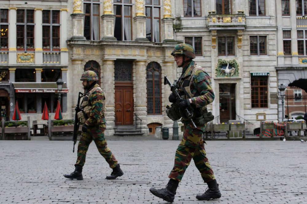 Soldiers patrol in central Brussels on March 23, 2016, a day after triple bomb attacks in the Belgian capital. (Kenzo Tribouillard/AFP/Getty Images)