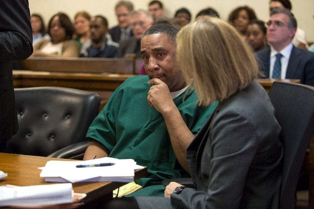 Darrell Jones cries after the mention of the videotaped testimony of Terie Lynn Starks, which ultimately became the key piece of evidence for his conviction. (Jesse Costa/WBUR)