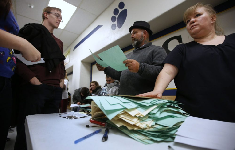 A record number of ballots are turned in at the Democratic caucuses at Farrer Junior High on March 22, 2016 in Provo, Utah.  The Republicans have 40 delegates and the Democrats have 37 delegates at stake in Utah. (George Frey/Getty Images)