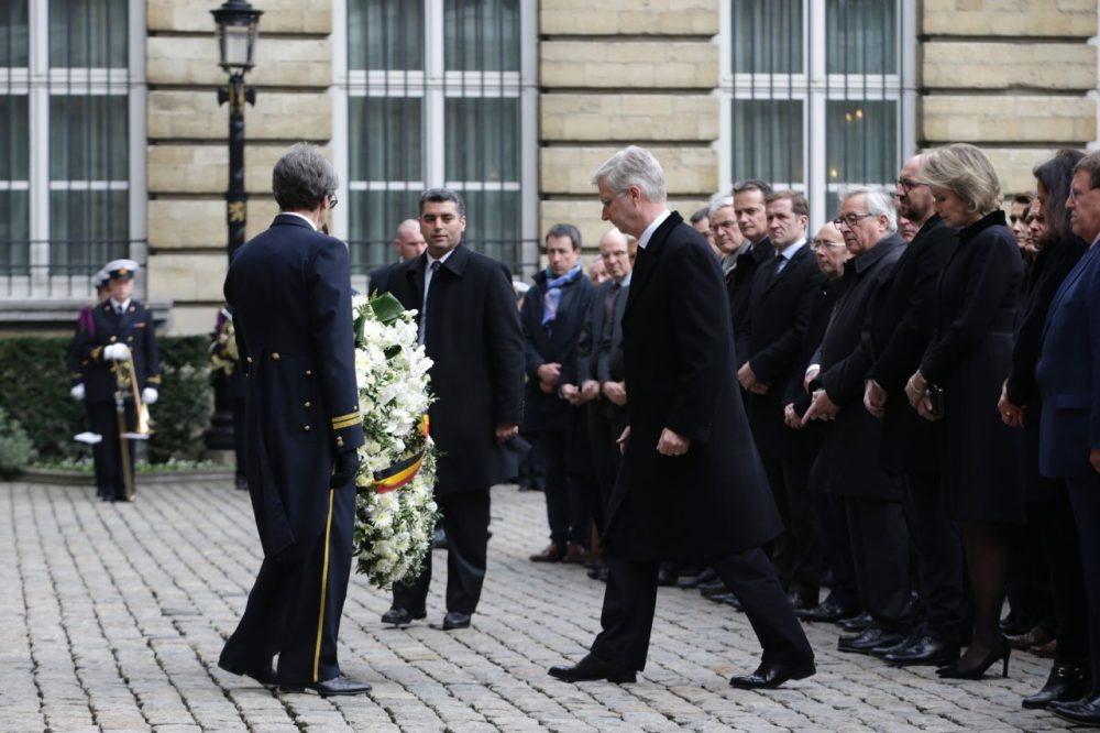The king and queen of Belgium and other dignitaries and officials attend a ceremony at Palais de la Nation in Brussels on March 24, 2016, two days after a triple bomb attack claimed by the Islamic State group. (Kenzo Tribouillard/AFP/Getty Images)