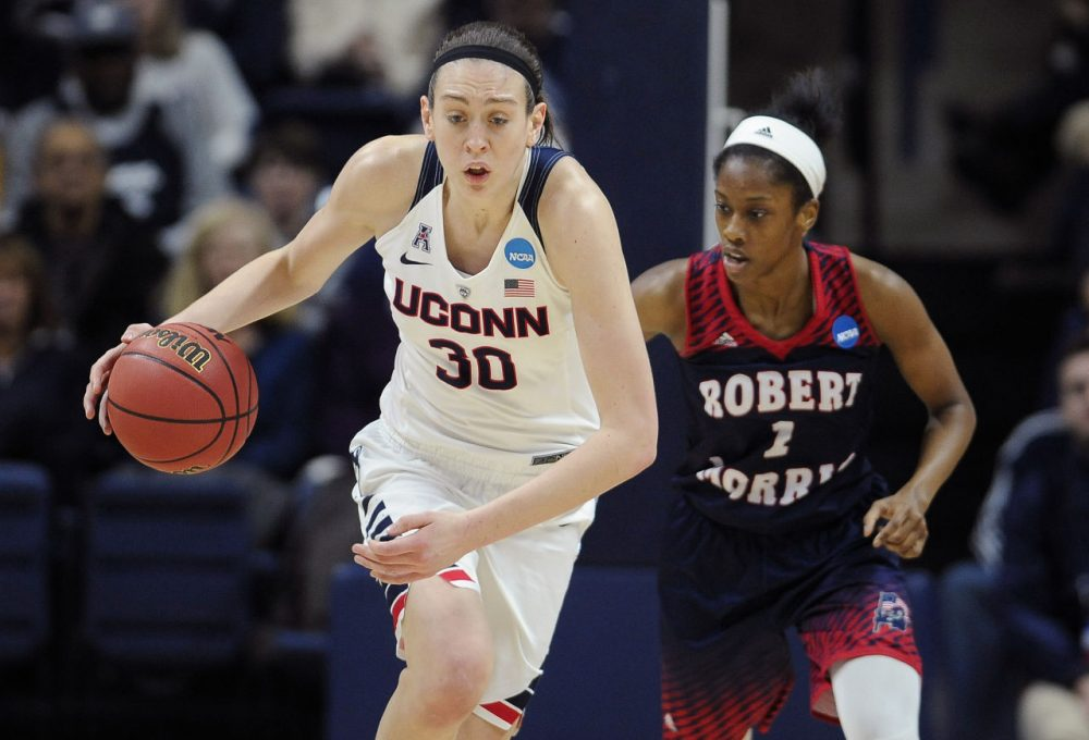 UConn's Breanna Stewart steals the ball from Robert Morris' Jocelynne Jones, right, during a first round women's college basketball game in the NCAA Tournament, Saturday, March 19, 2016, in Storrs, Conn. UConn won 101-49. (Jessica Hill/AP)