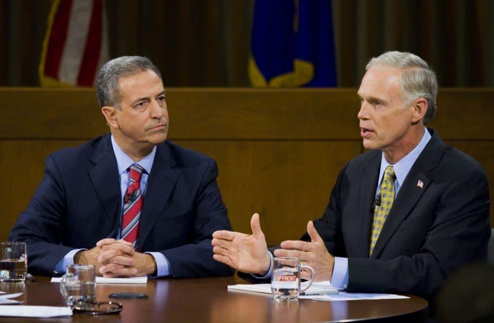 Democrat Russ Feingold and Republican Ron Johnson in a senatorial debate on Oct. 22, 2010 in Milwaukee, Wisconsin. (Darren Hauck/Getty Images)